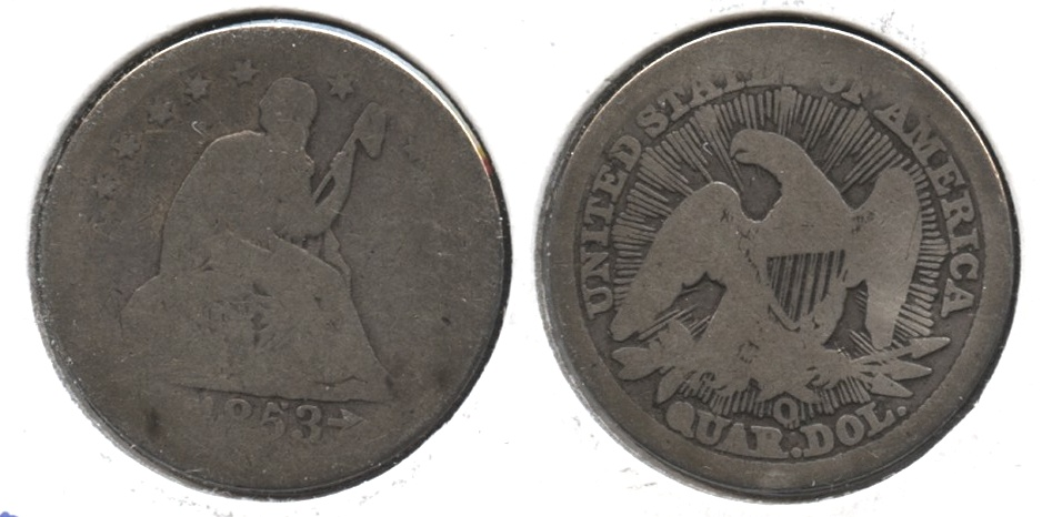 1853-O Seated Liberty Quarter AG-3 #a