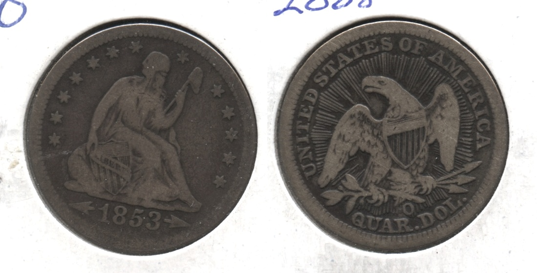 1853-O Seated Liberty Quarter Fine-12 #a