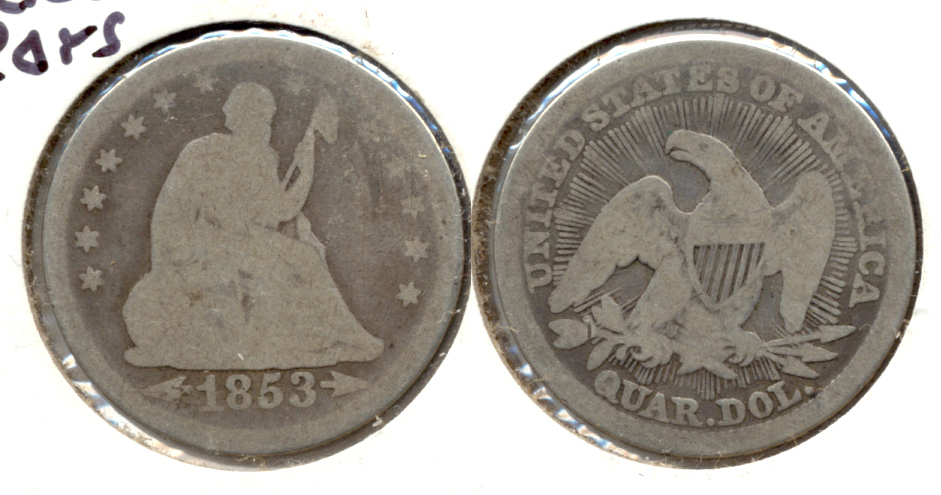 1853 Seated Liberty Quarter Good-4 a