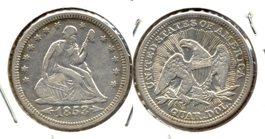 1853 Seated Liberty Quarter VF-20 #b Cleaned