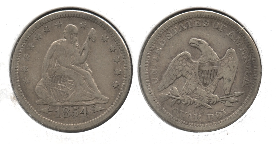 1854-O Seated Liberty Quarter VF-20 #a
