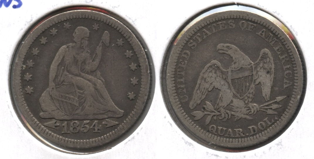 1854 Seated Liberty Quarter Fine-15
