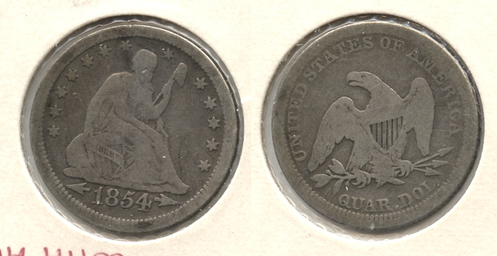 1854 Seated Liberty Quarter Good-4 #a
