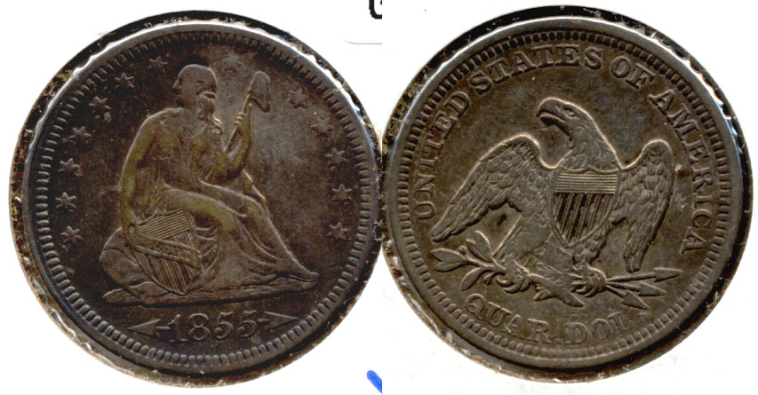 1855 Seated Liberty Quarter VF-30