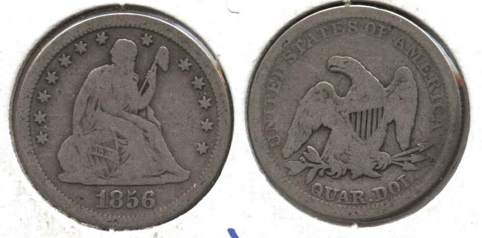 1856 Seated Liberty Quarter VG-8 #a
