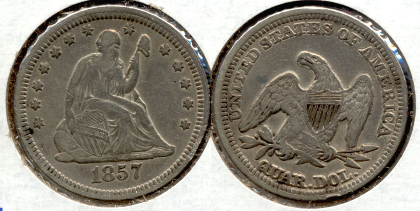 1857 Seated Liberty Quarter EF-40