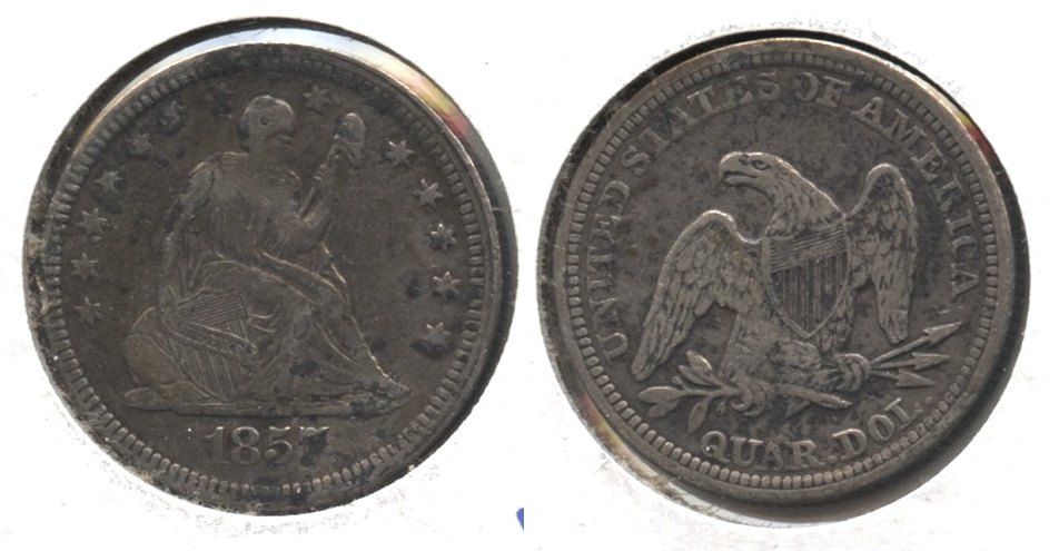 1857 Seated Liberty Quarter VF-20 #c Spots