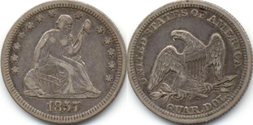 1857 Seated Liberty Quarter VF-30