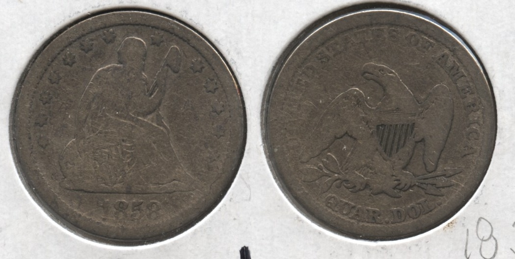 1858 Seated Liberty Quarter Good-4 #a