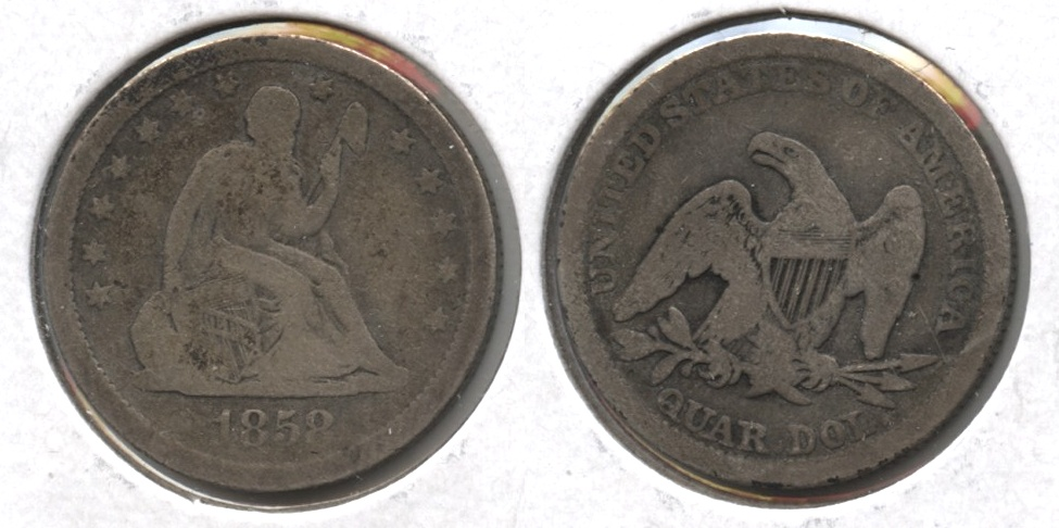 1858 Seated Liberty Quarter VG-8 #a