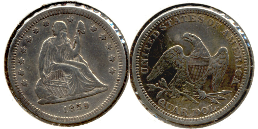 1859 Seated Liberty Quarter VF-30