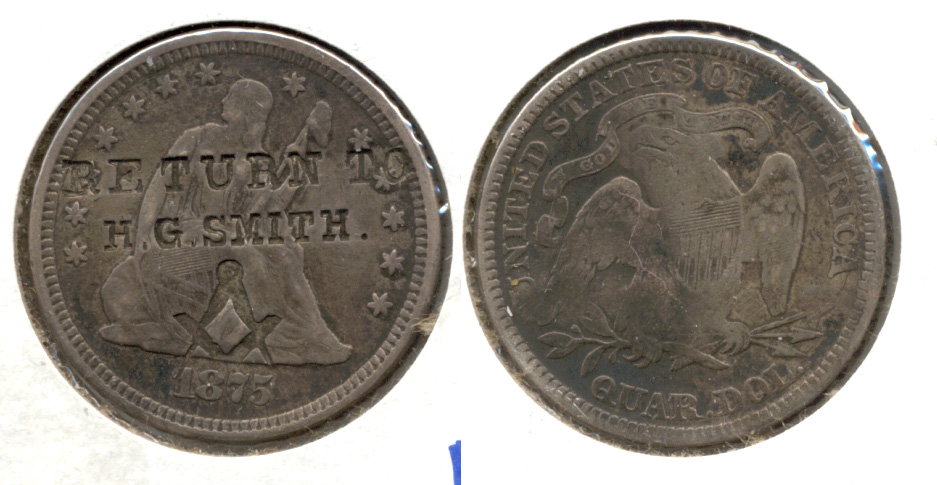 1875 Seated Liberty Quarter Fine-12 Counterstamp