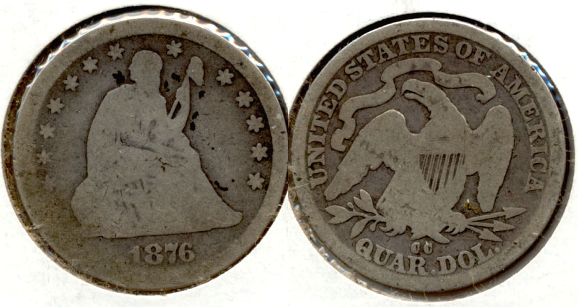 1876-CC Seated Liberty Quarter Good-4