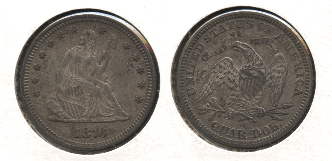 1876 Seated Liberty Quarter AU-50