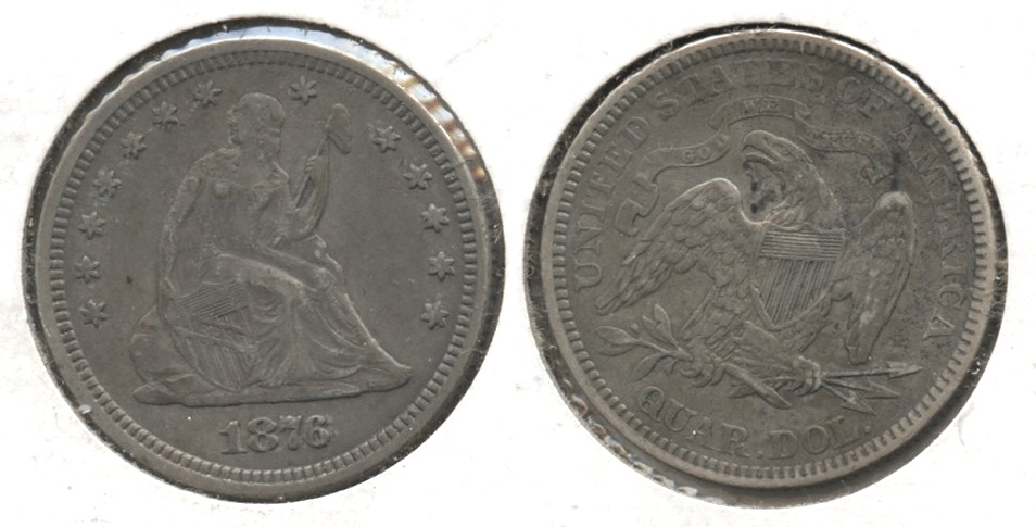1876 Seated Liberty Quarter EF-40 Reverse Marks
