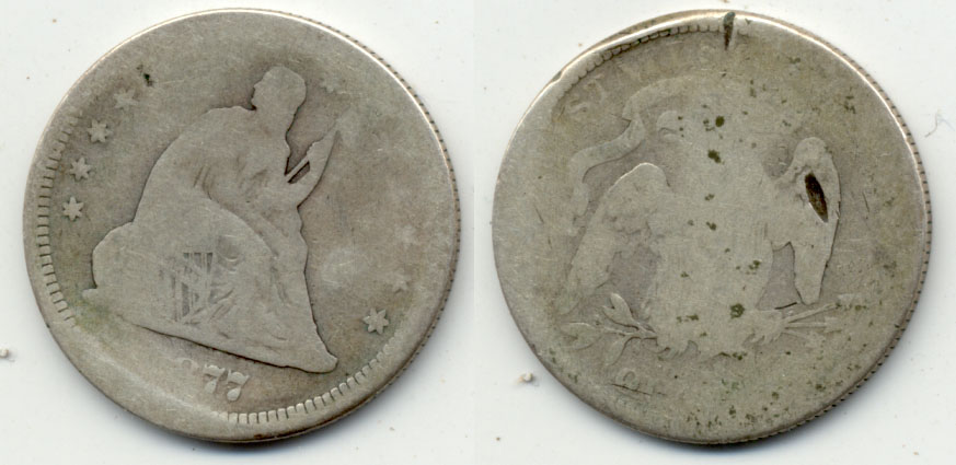 1877 Seated Liberty Quarter AG-3 Edge Cut