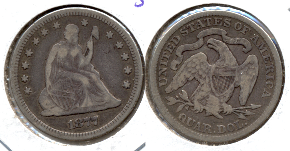 1877 Seated Liberty Quarter VF-20 a Old Scratch