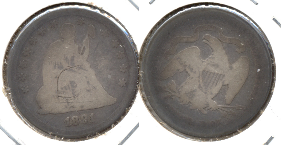 1891 Seated Liberty Quarter AG-3 a Obverse Scratch