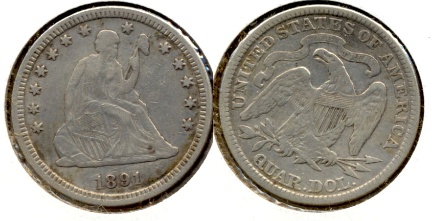 1891 Seated Liberty Quarter VF-20