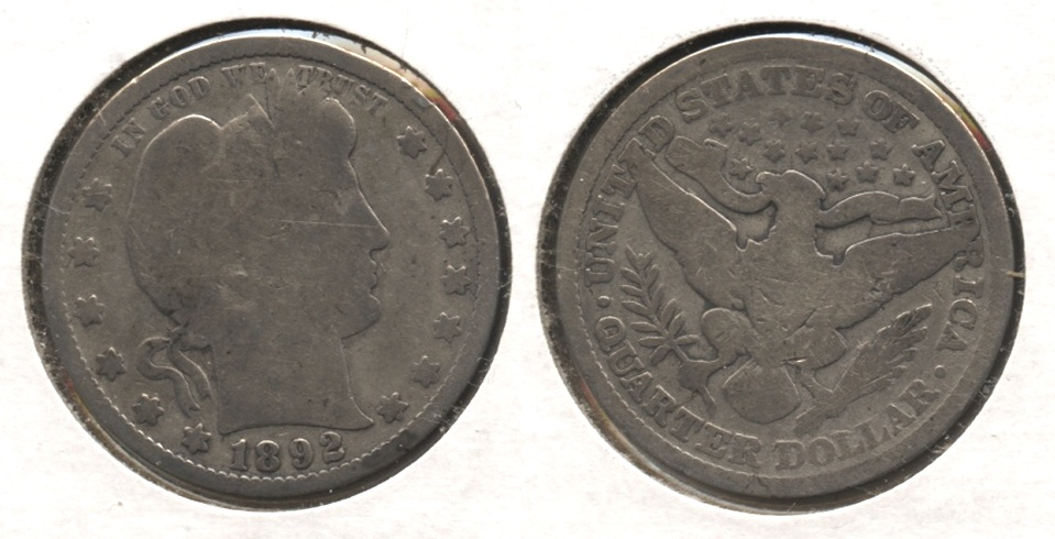 1892 Barber Quarter Good-4 #h