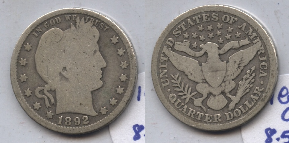 1892 Barber Quarter Good-4 #k
