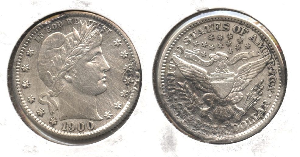 1900-S Barber Quarter AU-50 Heavy Damage
