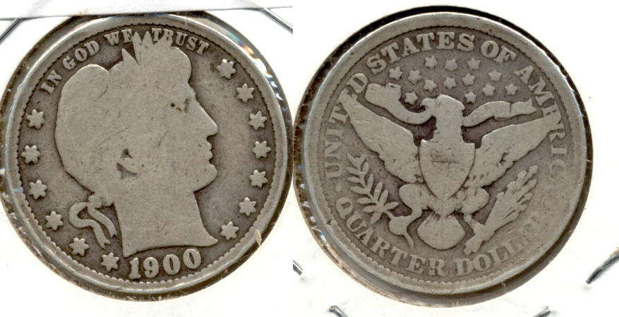 1900 Barber Quarter Good-4 Flattened Rim