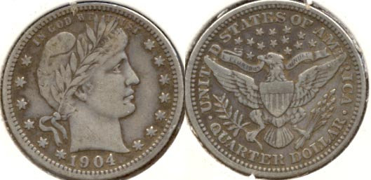 1904 Barber Quarter VF-20