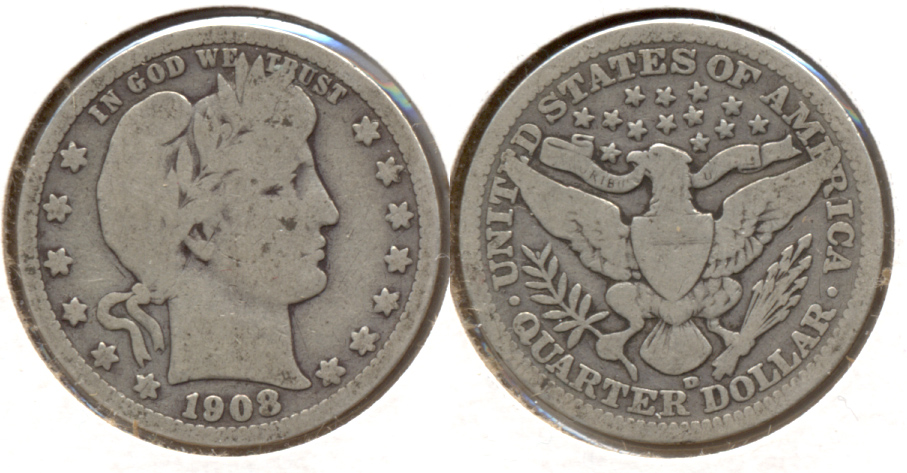 1908-D Barber Quarter Good-4 f