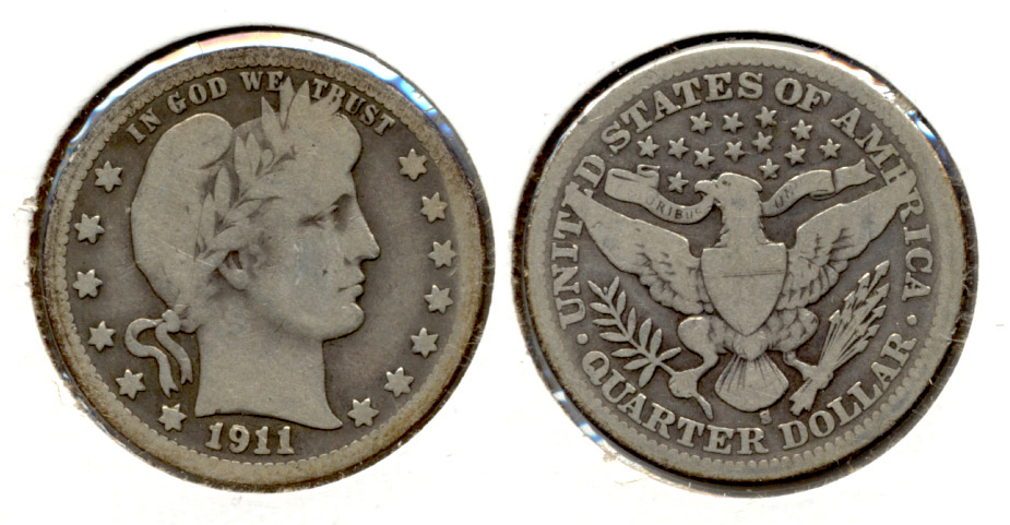 1911-S Barber Quarter Good-4 a