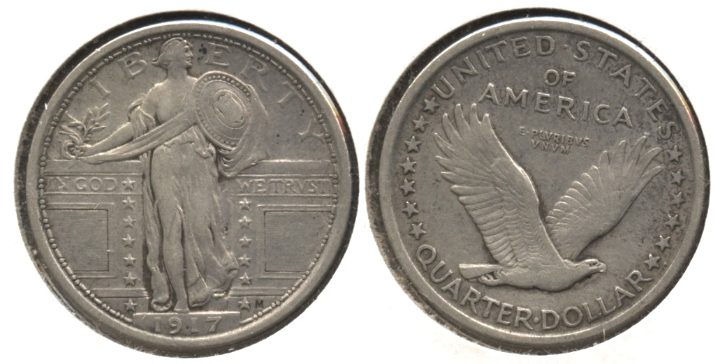 1917 Type 1 Standing Liberty Quarter EF-40