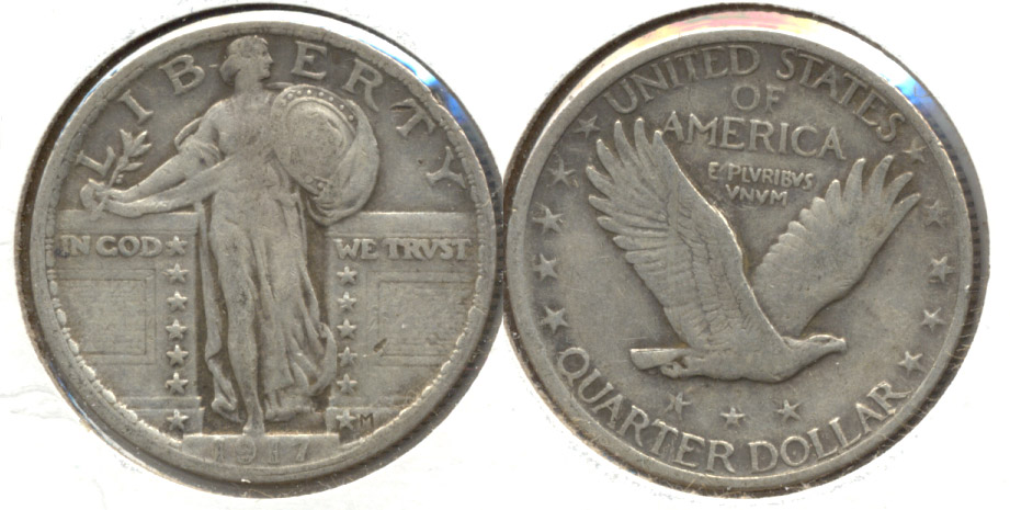 1917 Type 2 Standing Liberty Quarter VF-20