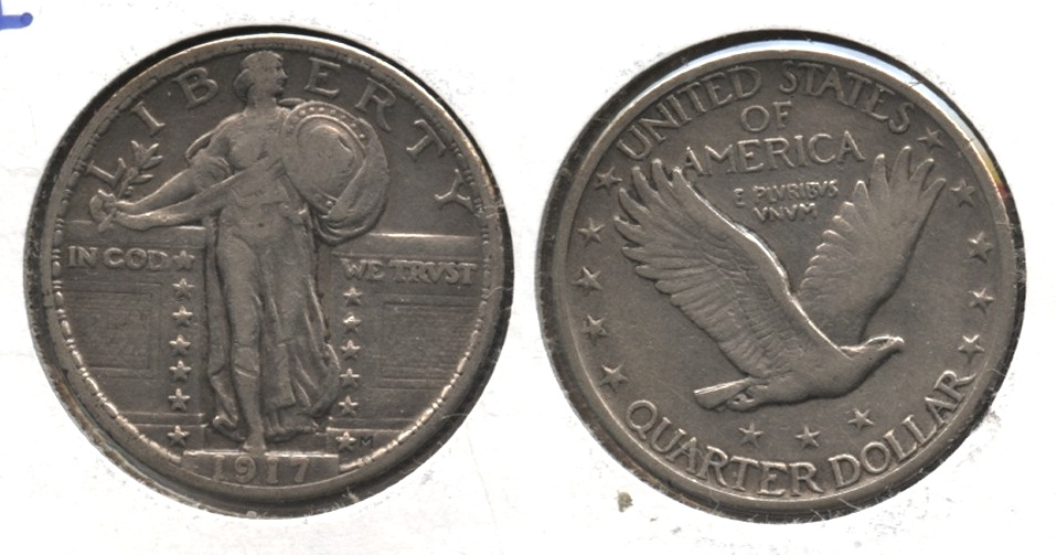 1917 Type 2 Standing Liberty Quarter VF-30