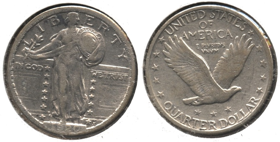 1920 Standing Liberty Quarter VF-20 #d Cleaned