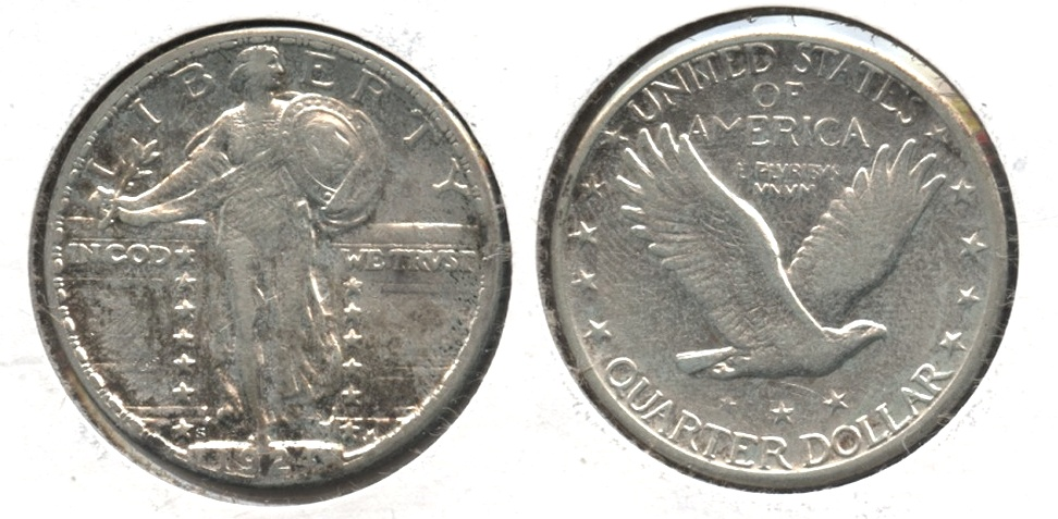 1924-S Standing Liberty Quarter EF-40 #a Cleaned