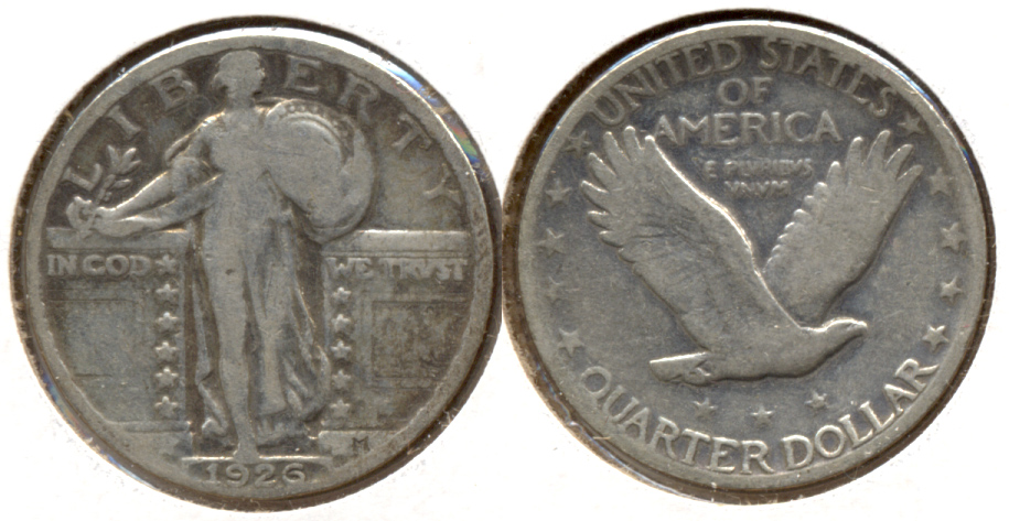 1926 Standing Liberty Quarter Good-4 c Cleaned