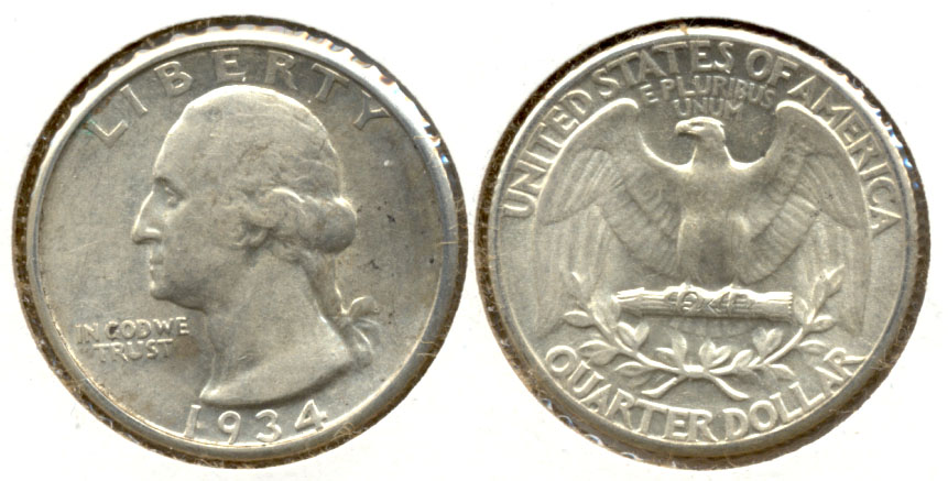 1934 Washington Quarter AU-50