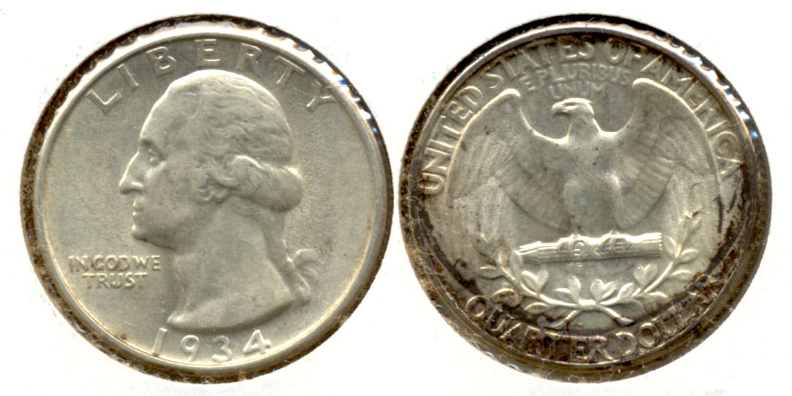 1934 Washington Quarter AU-50 a