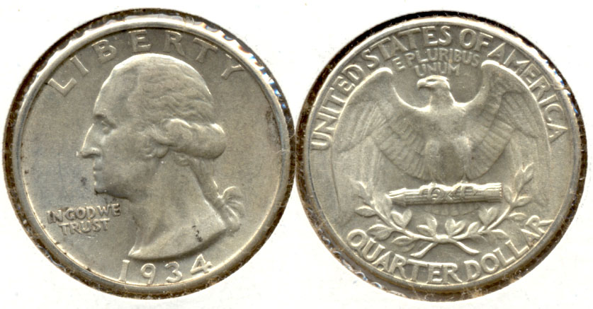 1934 Washington Quarter AU-50 k