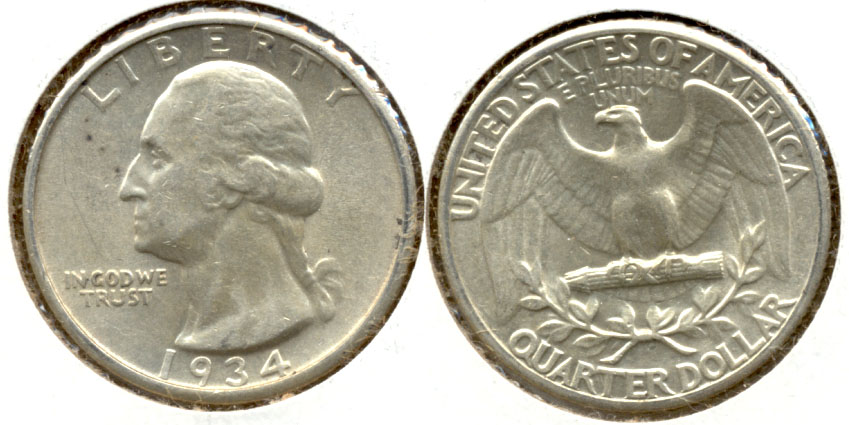 1934 Washington Quarter AU-50 n