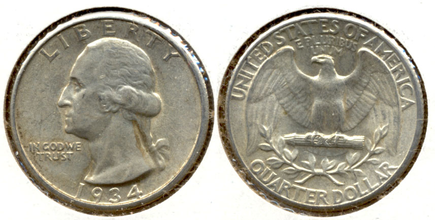 1934 Washington Quarter AU-50 o