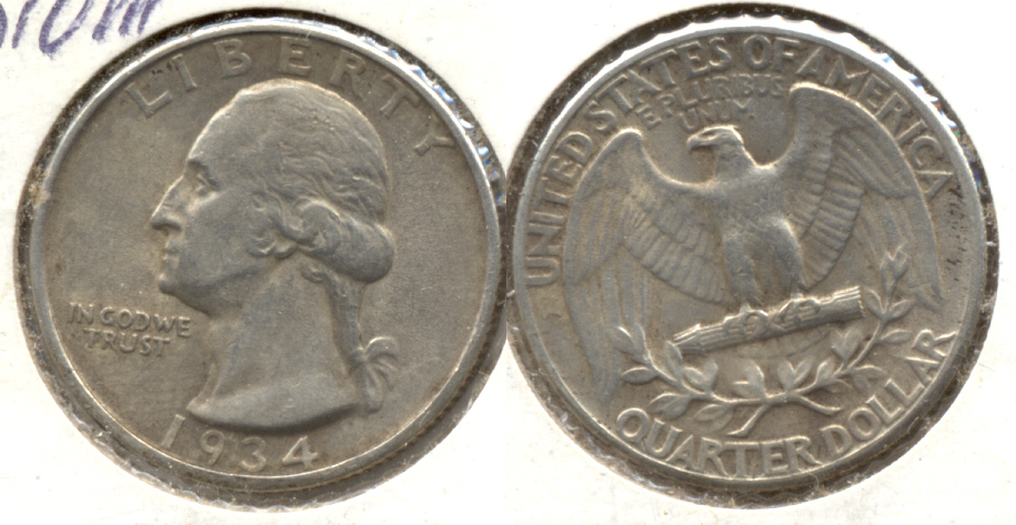 1934 Washington Quarter EF-40 b