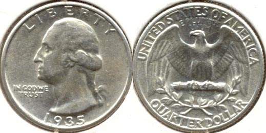 1935 Washington Quarter AU-50