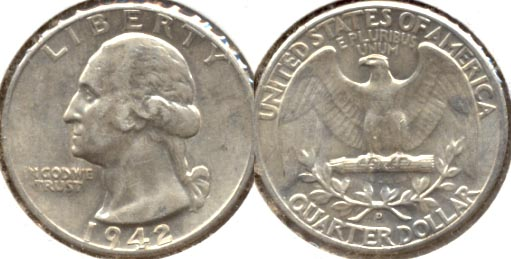 1942-D Washington Quarter AU-50