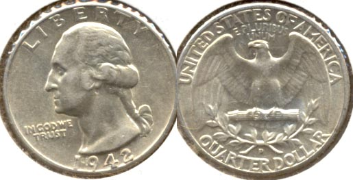 1942-D Washington Quarter AU-50 c