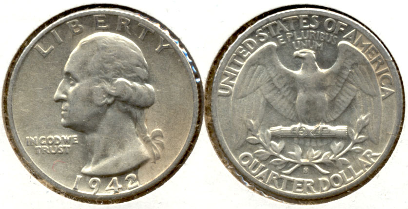 1942-S Washington Quarter AU-50 b