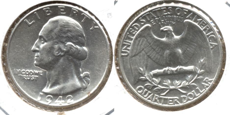 1942 Washington Quarter AU-50
