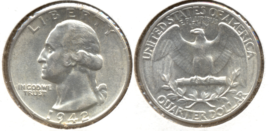 1942 Washington Quarter AU-50 f