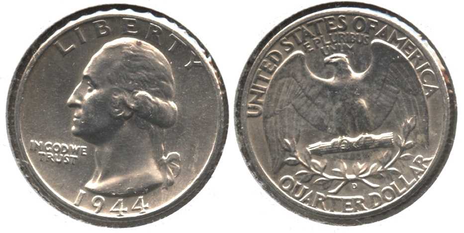 1944-D Washington Quarter MS-60 #h Light Cleaning