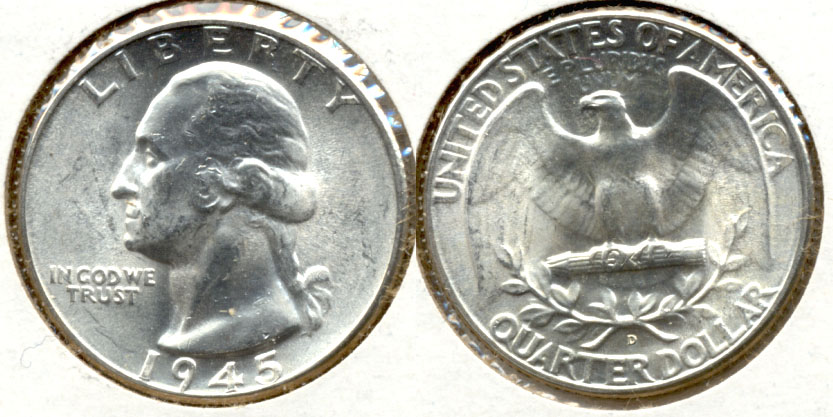 1945-D Washington Quarter MS-60 f